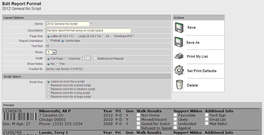 No Script Report Format main settings